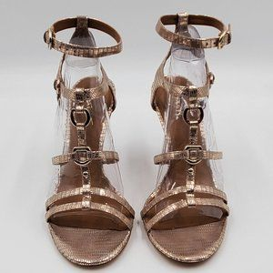 Coach Metallic Gold Strappy Heels